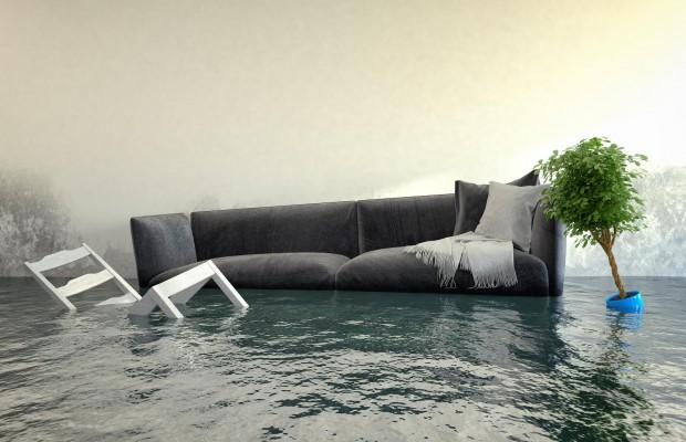 berschwemmtes Wohnzimmer - Wasserschaden - Hochwasser