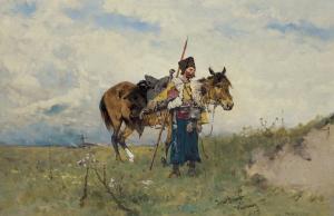 JÓZEF BRANDT, Kozak w stepie. Kozak na stanowisku, Fot. z Archiwum Domu Aukcyjnego Agra-Art