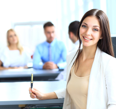 bigstock-Business-woman-with-her-team-a-48958436